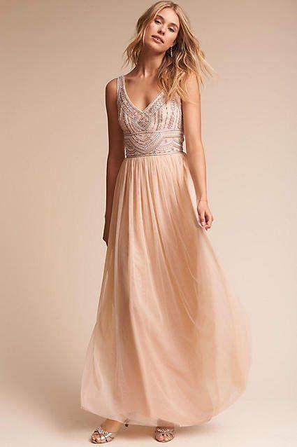 Anthropologie  Wedding Guest Dress  Prom Dress  Cream