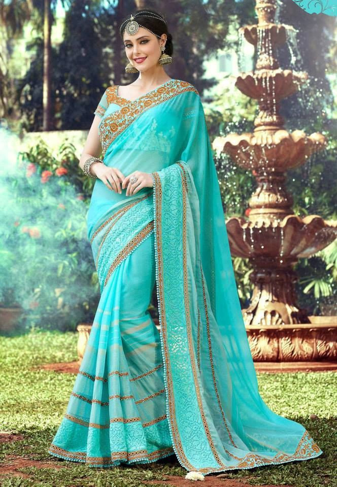 Aqua Faux Georgette Saree With Blouse Bollymode
