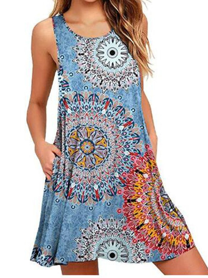 Ärmellos Baumwollgemisch Sommerkleider  Modetalente