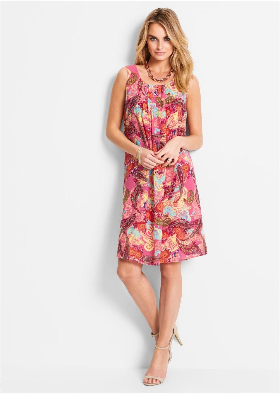 Ärmelloses Kleid Mit Paisleymuster Und Rundhalsausschnitt