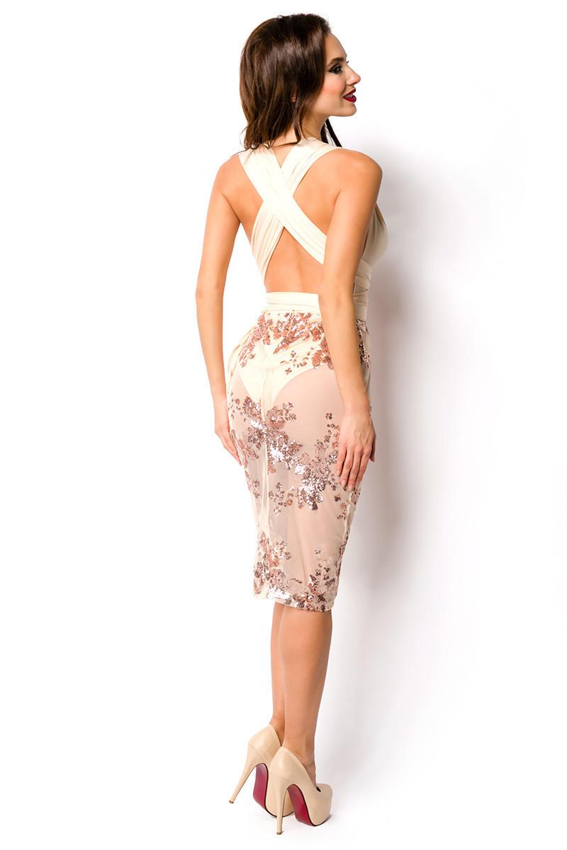 Ärmelloses Transparentes Kleid Mit Sexy Vausschnitt