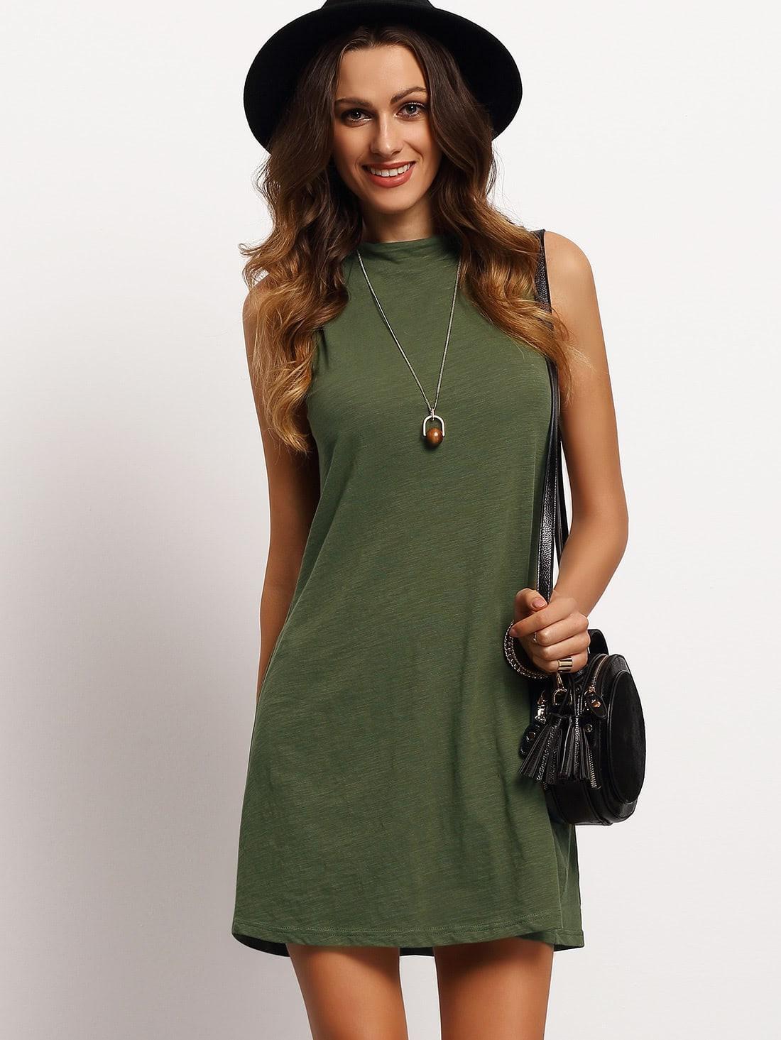 Ärmelloses Tshirt Kleid Mit Mock Neck Blackish Grün  Shein