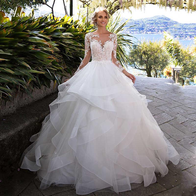 Ashley Carol Tüll Hochzeit Kleider Mit Ärmeln Mode Boot