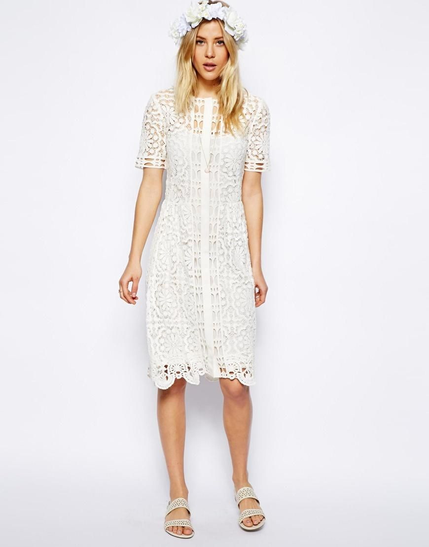 Asos  Asos Premium Lace Midi Dress At Asos With Images