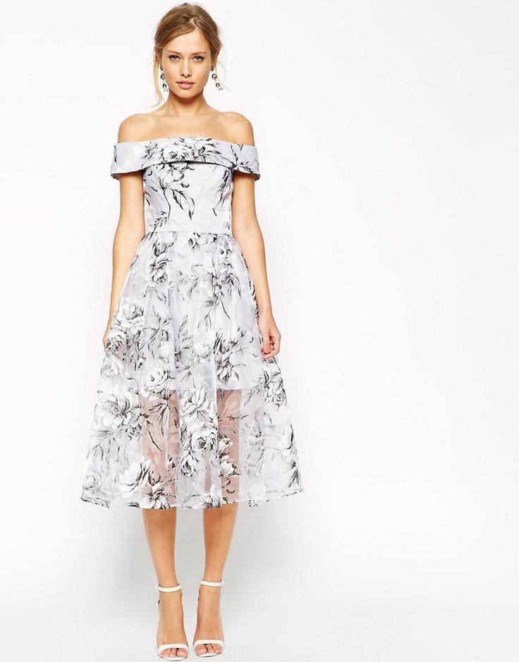 Asos  Asos Salon Midi Dress In Floral Organza At Asos