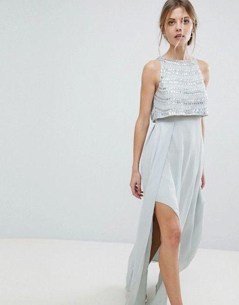 Asos  Asos Silver Embellished Crop Top Maxi Dress  Maxi