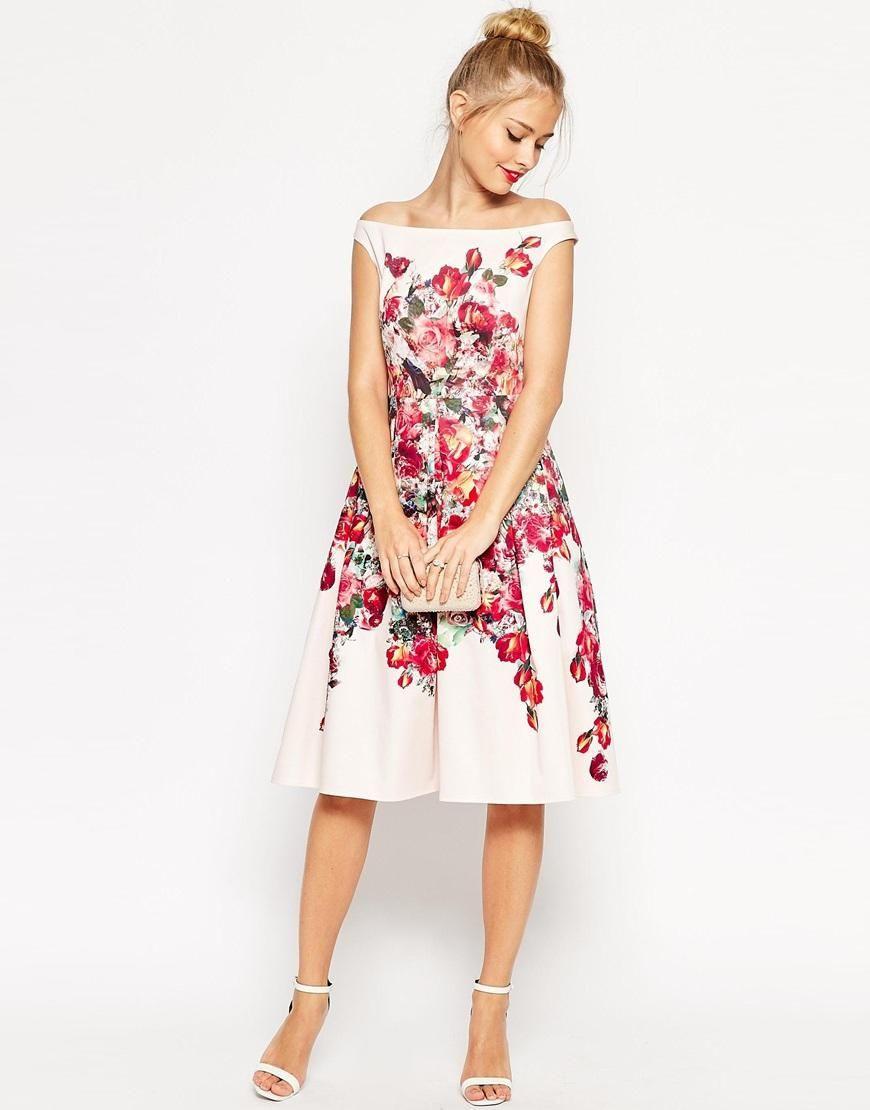 Asos  Asos Vintage Floral Bardot Prom Dress At Asos