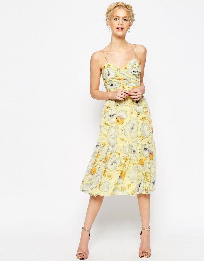 Asos Collection Asos Occasion Tiered Cami Midi Dress In