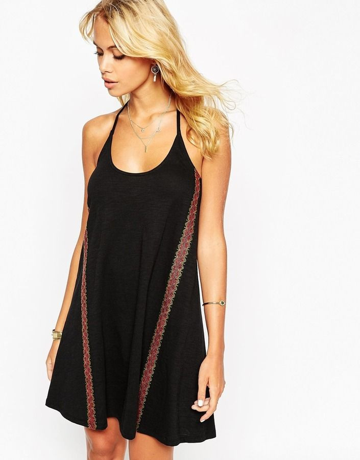 Asos Collection Asos Swing Dress In Neppy With Embroidered