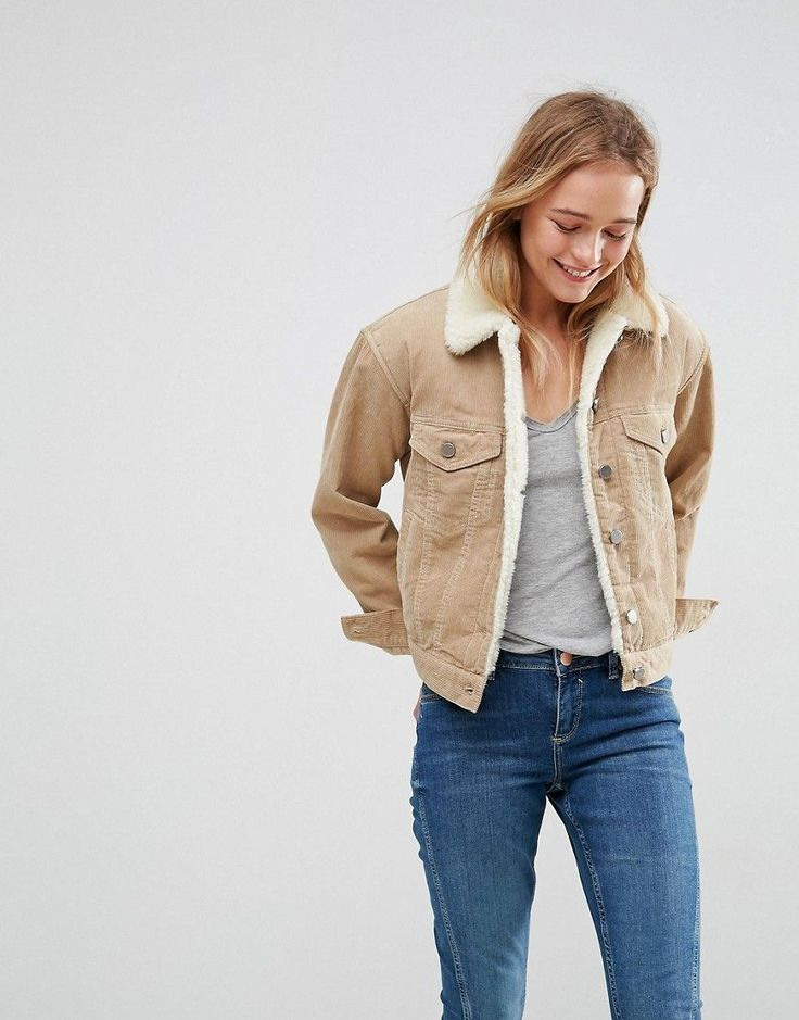 Asos Cord Jacket With Fleece Collar In Stone  Stone