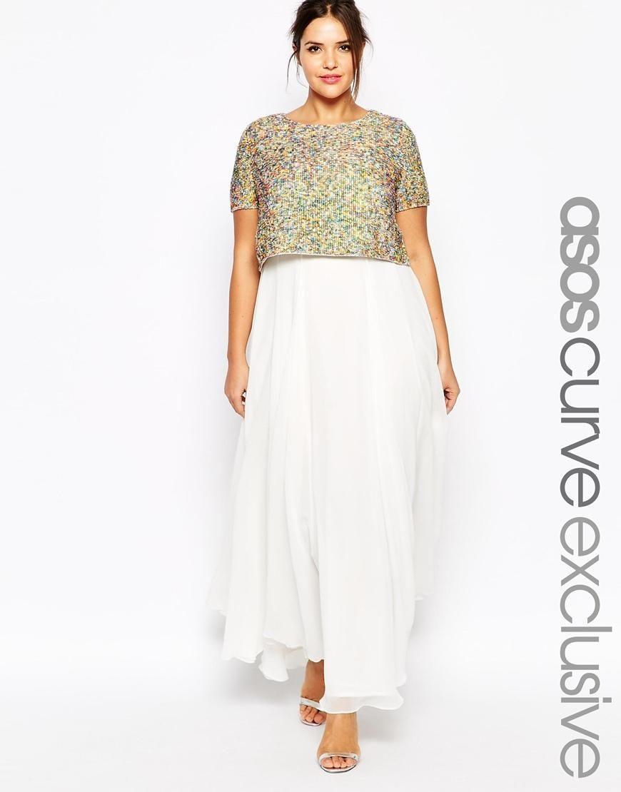 Asos Curve  Asos Curve Wedding Maxi Dress With Sequin Top
