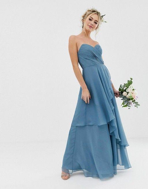 Asos Design Bridesmaid Maxi Bandeau Dress With Soft