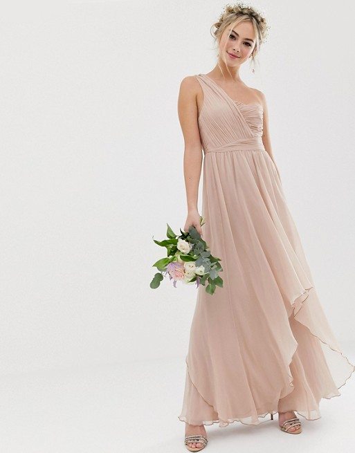 Asos Design Bridesmaid Soft Layer Maxi Dress With One