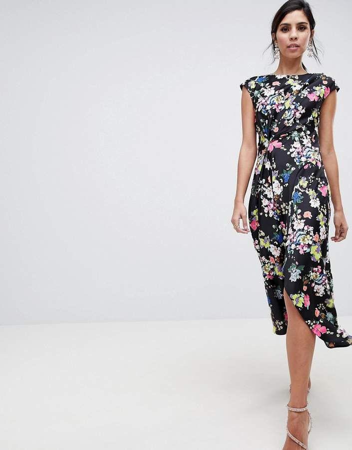 Asos Design Drape Midi Dress In Dark Floral With Images