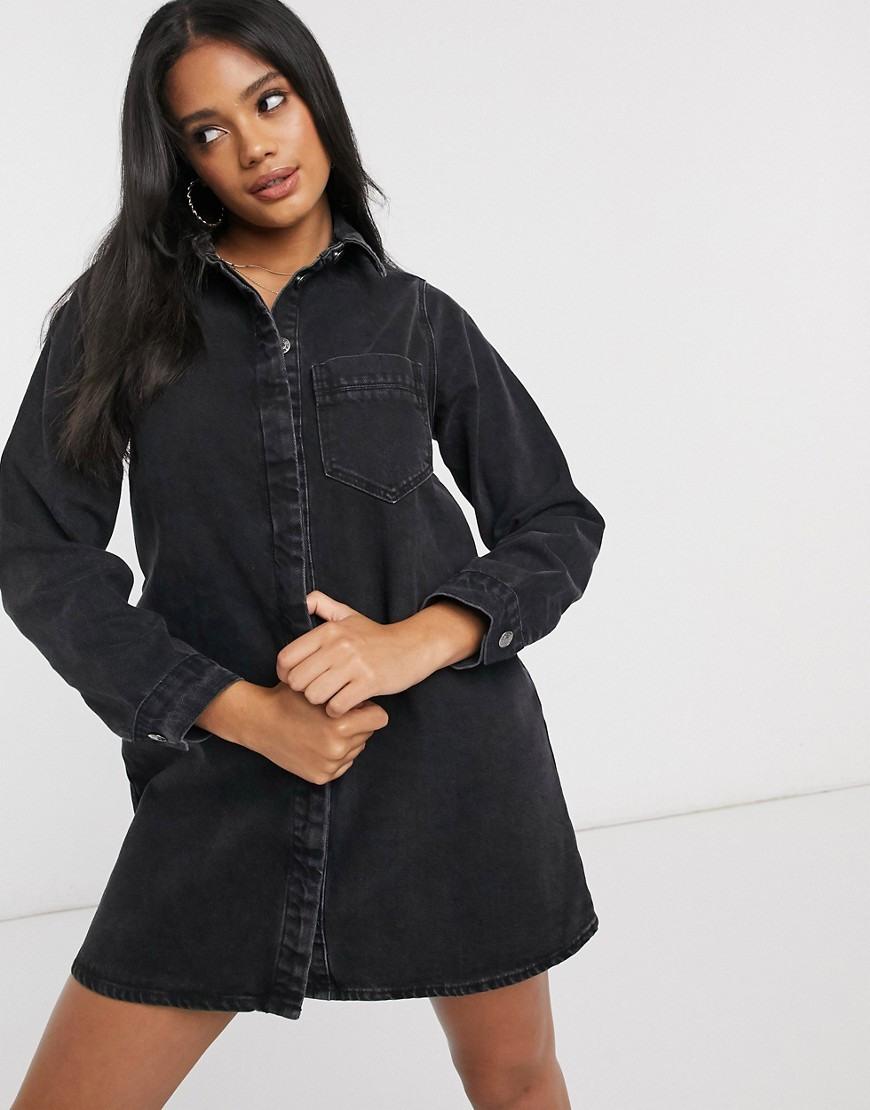 Asos Design  Jeanshemdkleid In Verwaschenem Schwarz