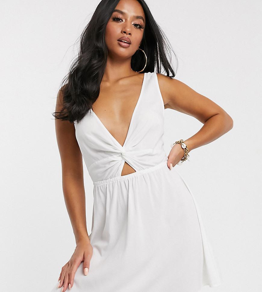 Asos Design Petite  Weißes Strandsommerkleid Mit Twist