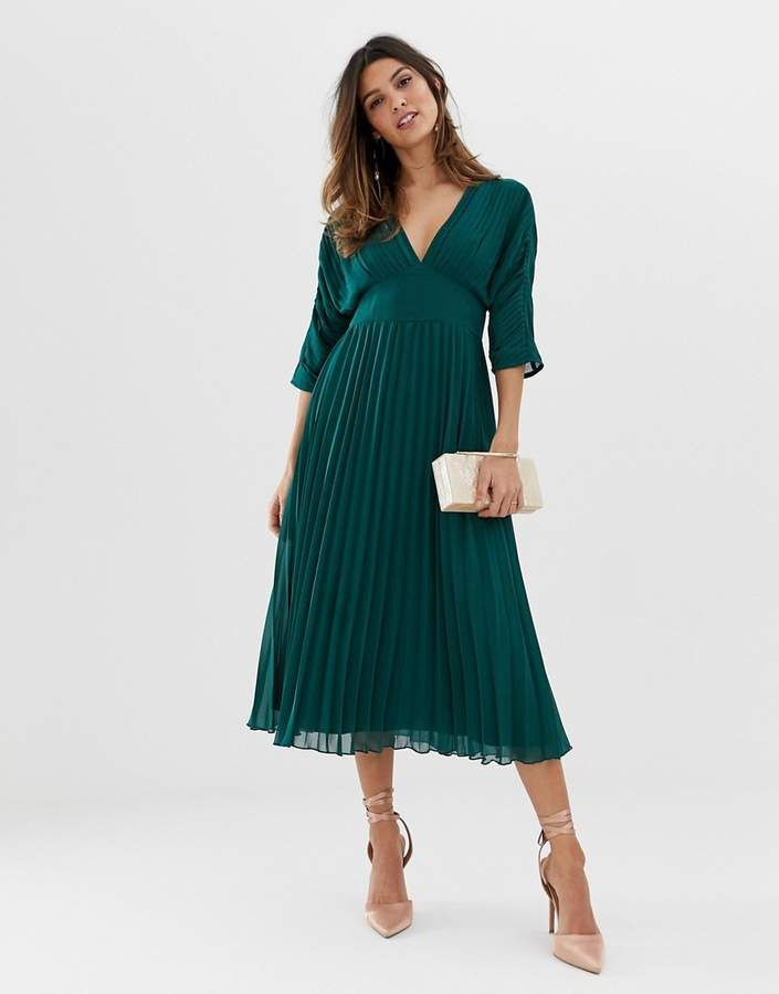Asos Design Pleated Midi Dress With Batwing Sleeves