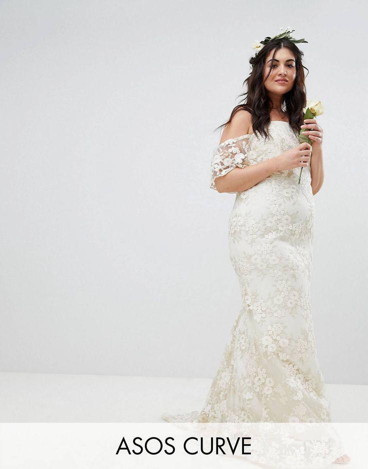 Asos Edition Curve  Langes Schulterfreies Hochzeitskleid