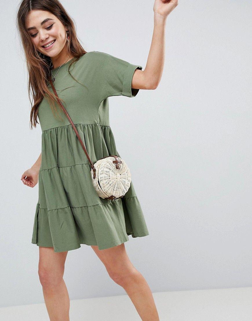 Asos  Hängerkleid Aus Baumwolle Mit Einsätzen  Grün