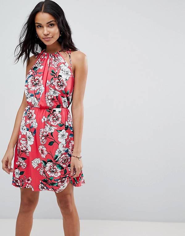 Asos  Lockeres Sommerliches Minikleid Mit Blumenmuster