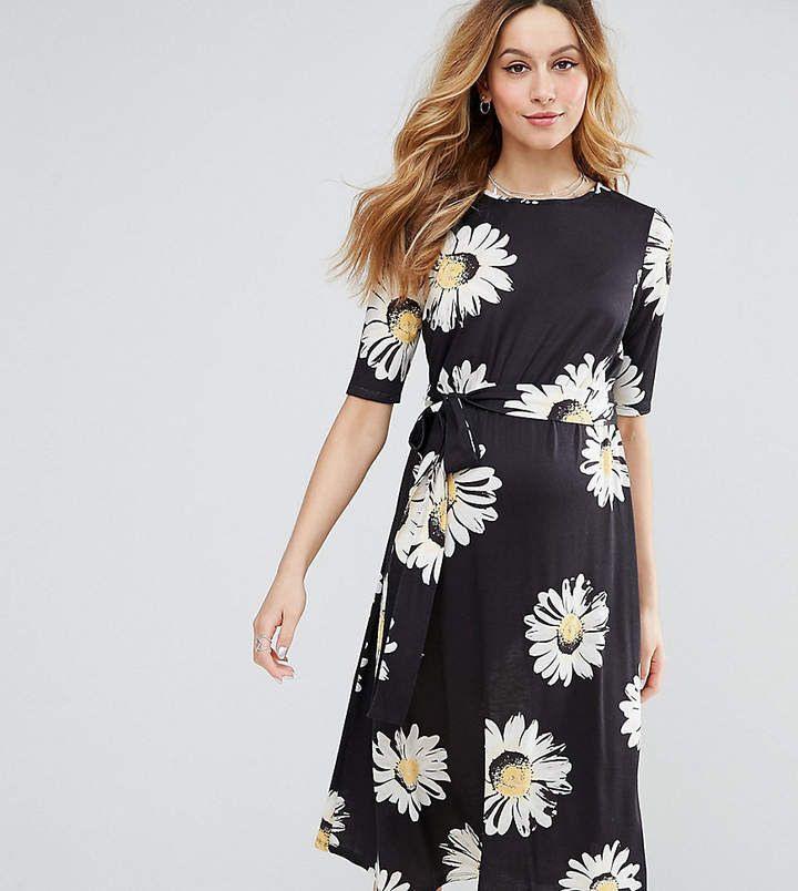 Asos Maternity Midi Dress In Daisy Print Afflink