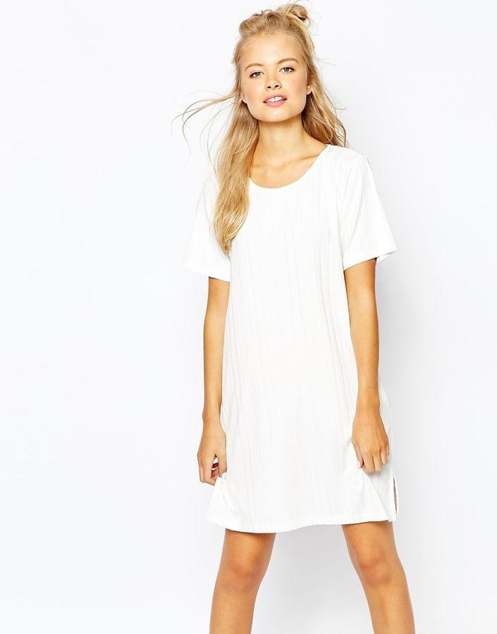 Asos  Monki Ribbed T Shirt Dress With Side Split  T