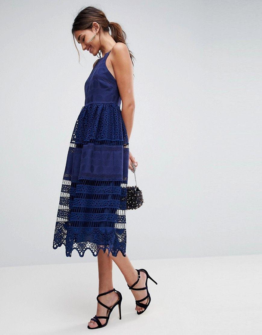 Asos Premium Broderie Lace Midi Dress  Navy