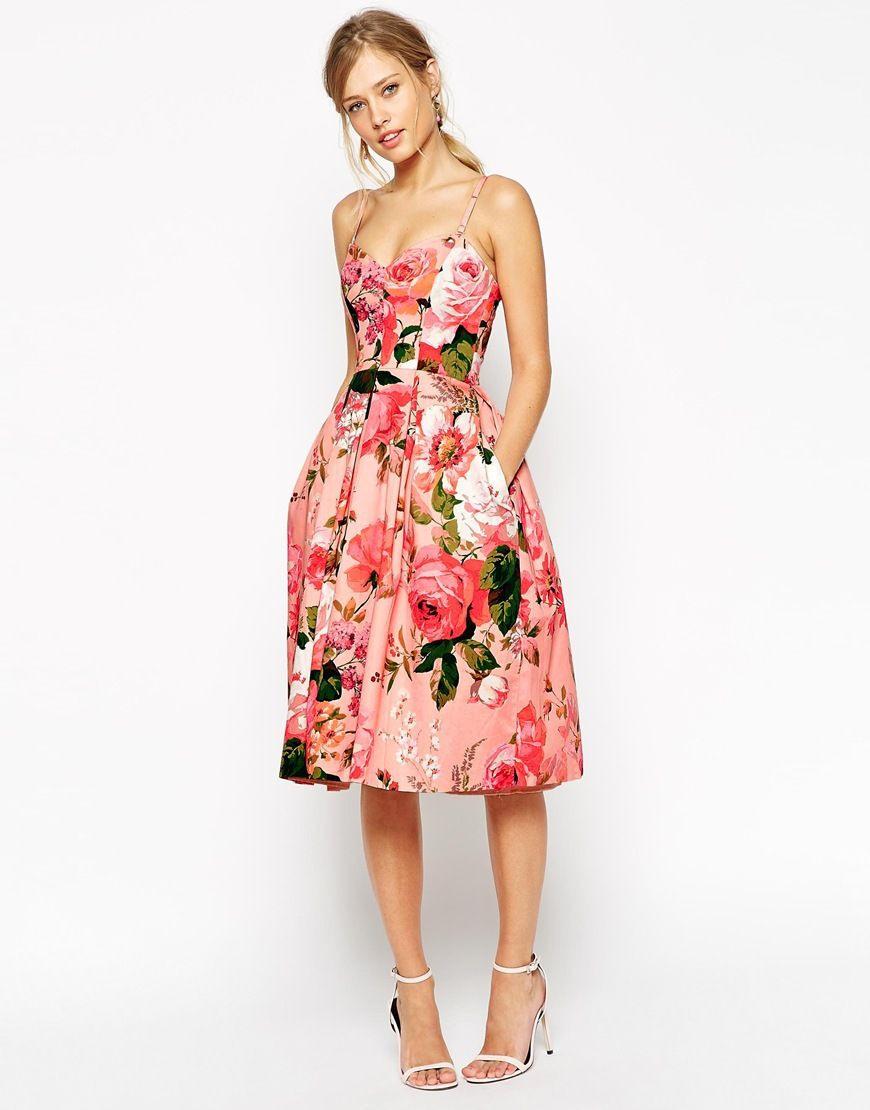 Asos Salon Pinky Rose Bandeau Midi Prom Dress At Asos