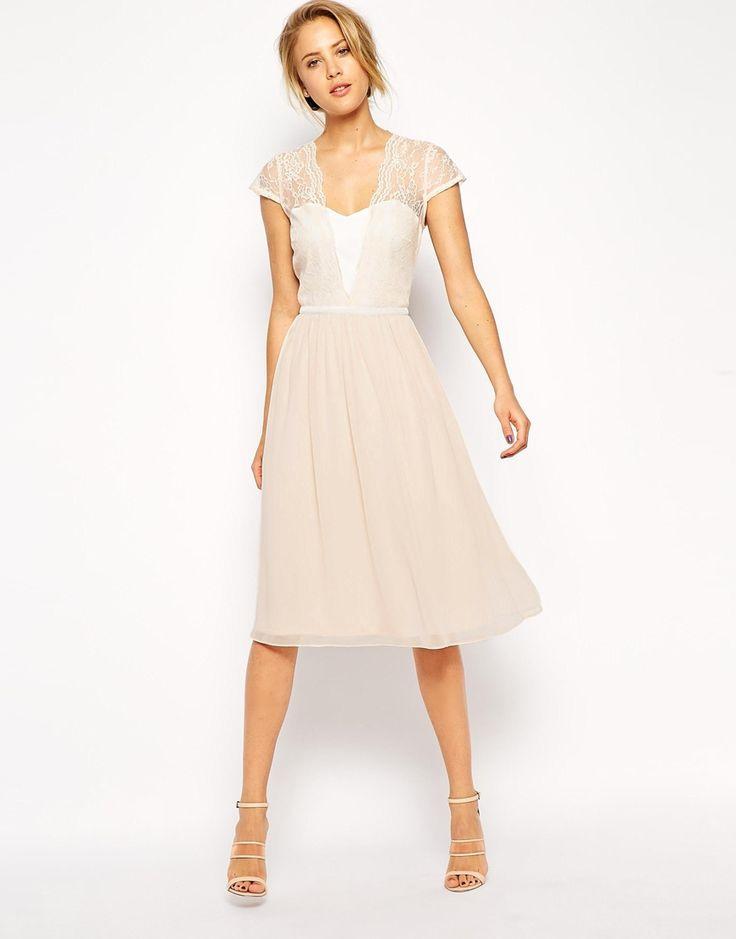 Asos Scallop Lace Midi Dress  Kleid Hochzeit