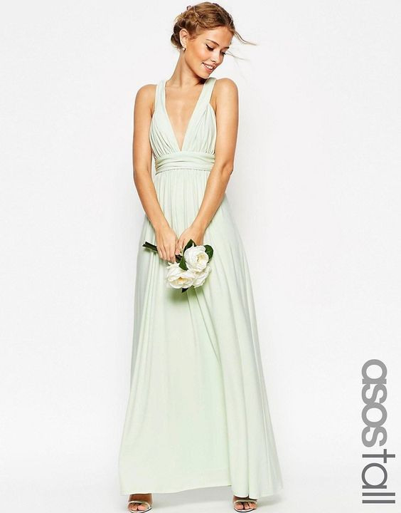 Asos Tall Wedding Ruched Double Strap Maxi Dress