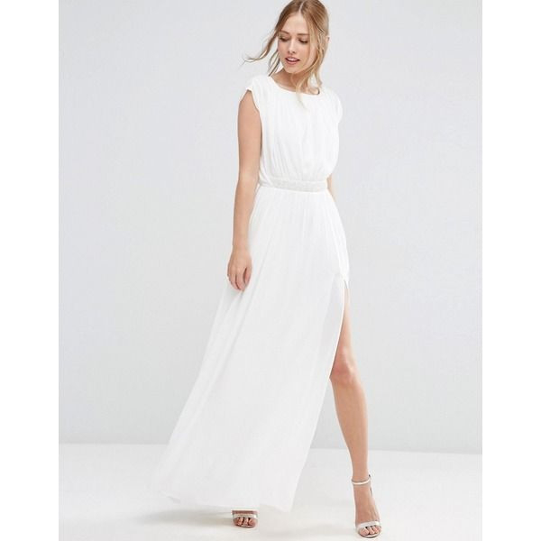Asos  Verziertes Maxikleid  Weiß  Asos Kleid Kleid Mit