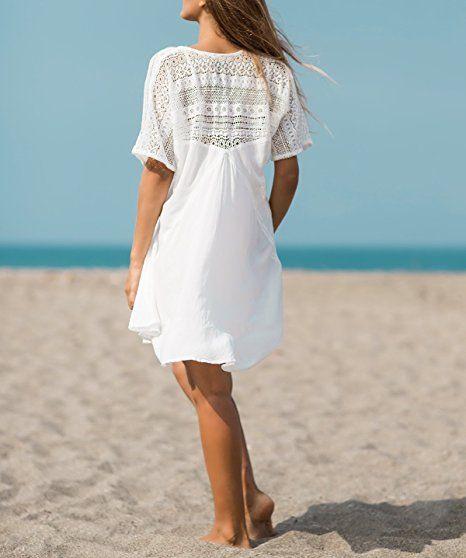 Asskdan Damen Weiß Spitze Sommer Minikleid Vausschnitte