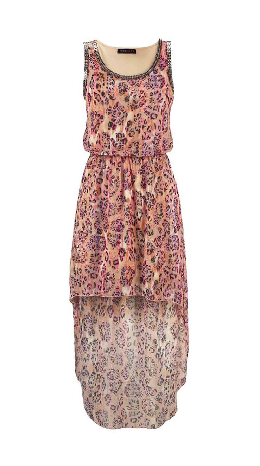 Asymmetrisches Chiffonkleid Apricotbunt Gr 40  Kleider