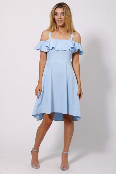 Asymmetrisches Kleid Mit Carmenausschnitt  Hellblau