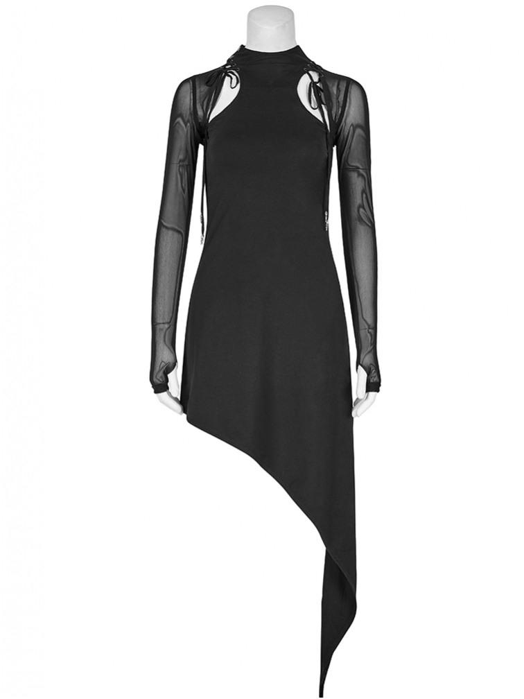 Asymmetrisches Kleid Mit Transparenten Ärmeln  Kleider