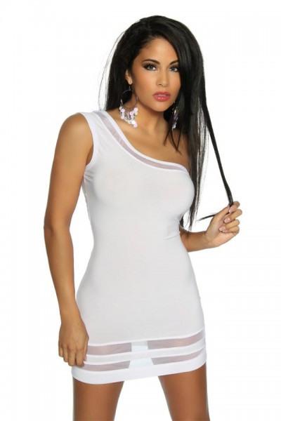 Asymmetrisches Minikleid Weiß  Kleider  Kurz  Club