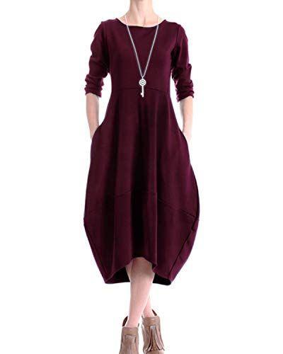 Audate Damen Rundhalsausschnitt Large Hem Pullover Kleid