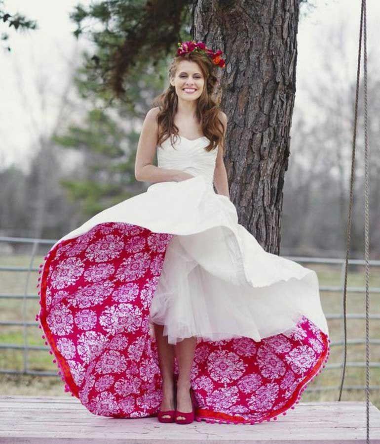 Ausgefallene Brautkleider Originelles Design Weiß Rot
