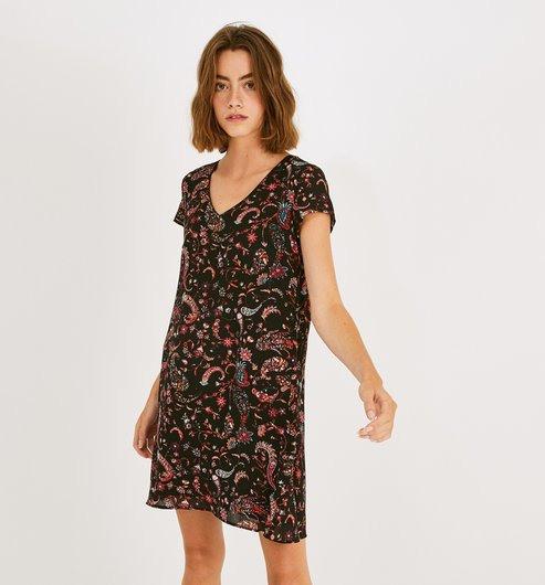 Ausgestelltes Kleid  Schwarz Gemustert  Damen  Kleider