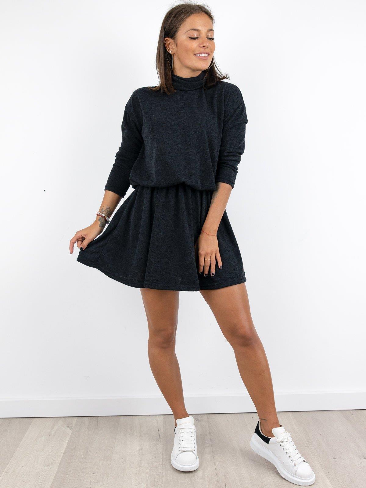 Ausgestelltes Pullover  Kleid Mit Rollkragen A231