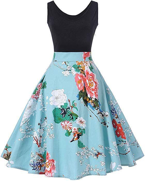 Axoe Damen 50Er Jahre Retro Rockabilly Kleid Elegant
