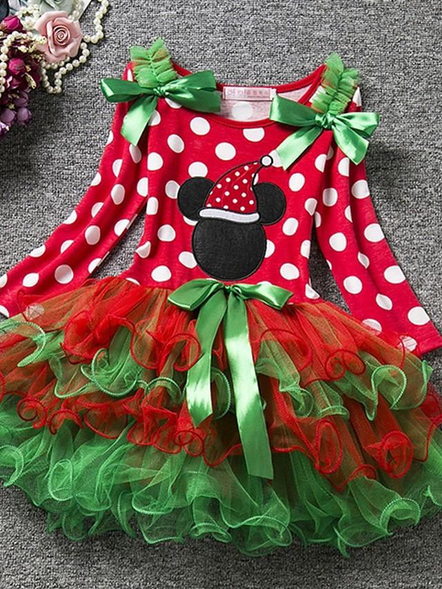 Baby Mädchen Grundlegend Punkt Weihnachten Langarm Kleid