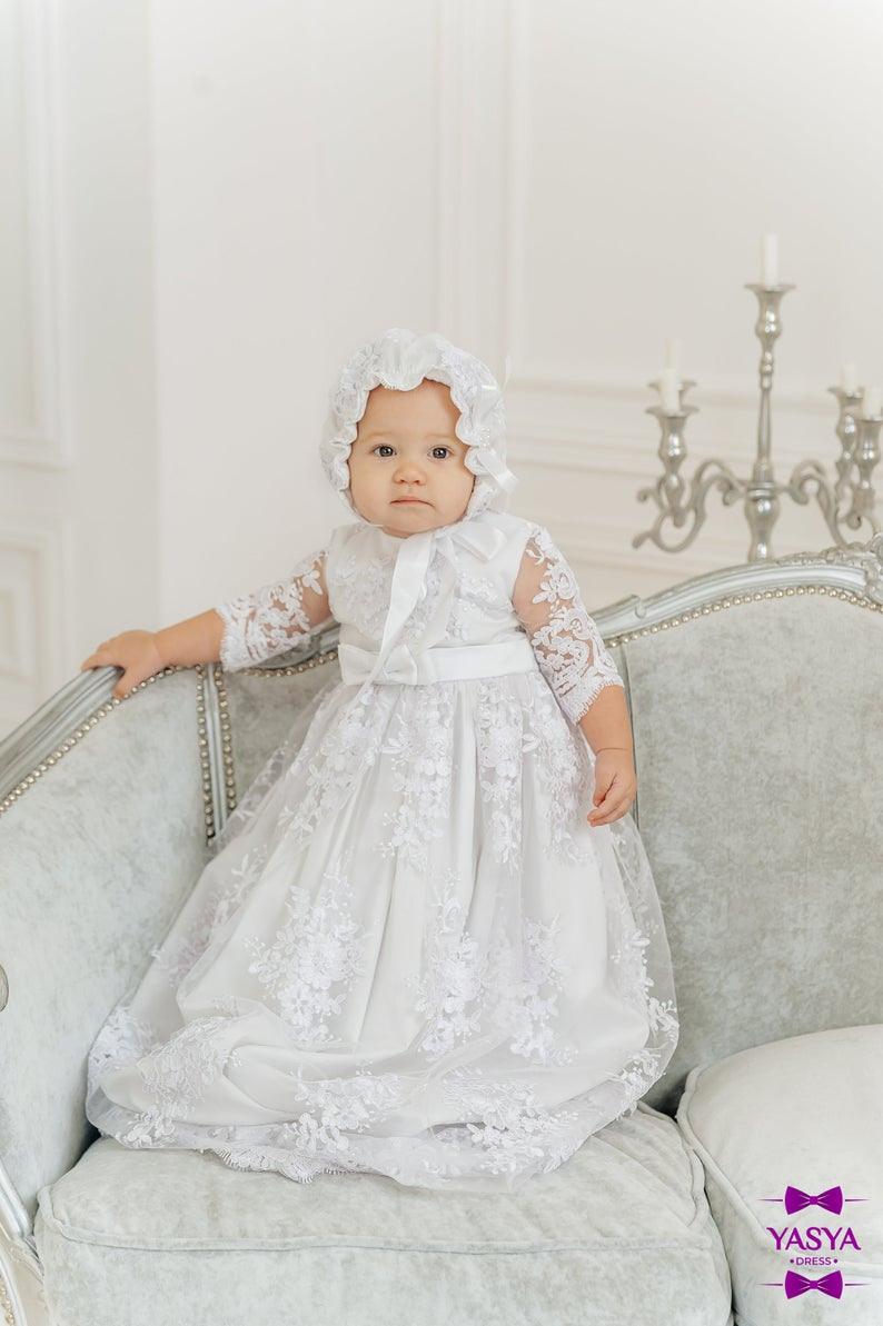 Baby-Mädchen-Taufkleid Weiße Taufe Kleid Baby Segen Kleid