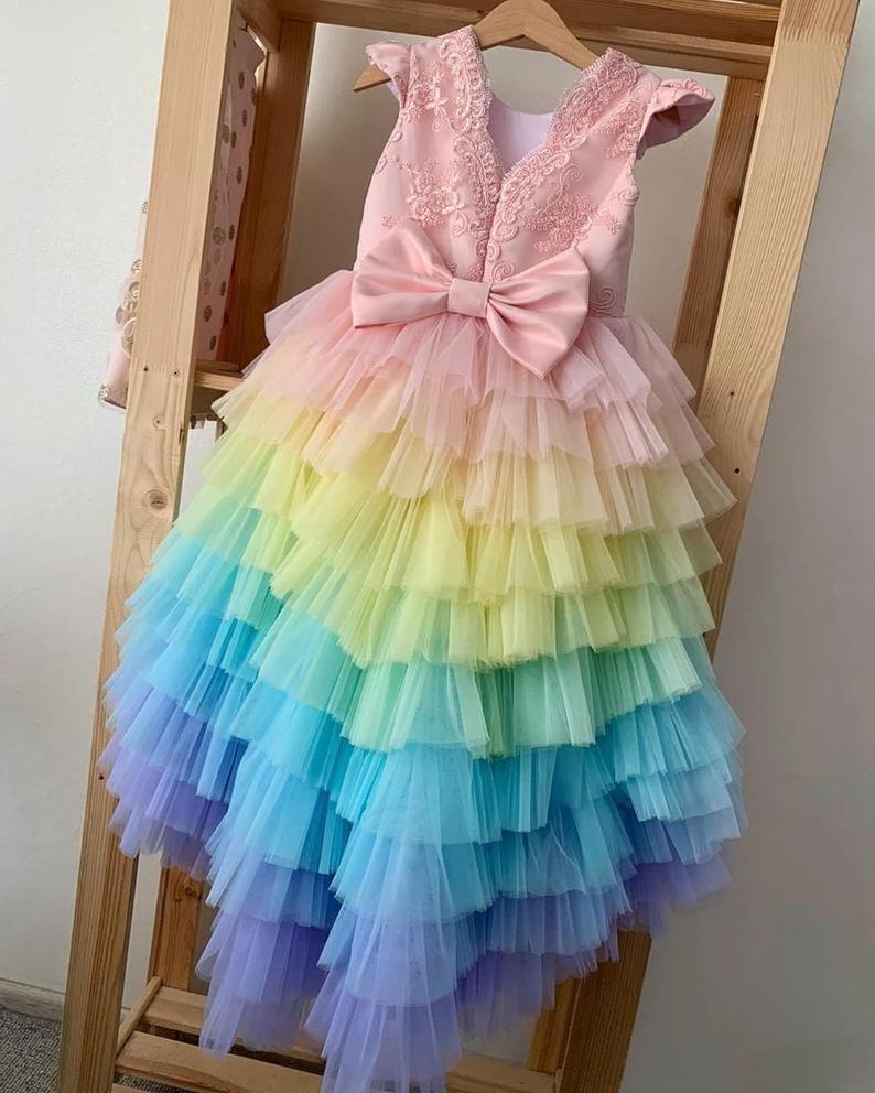 Babymädchengeburtstag Regenbogenkleid Helle Bunte  Etsy