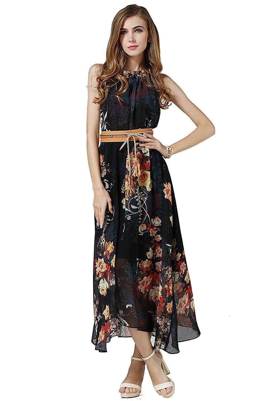 Babyonline Damen Sommer Kleid Dashiki Dress Blumen Strand