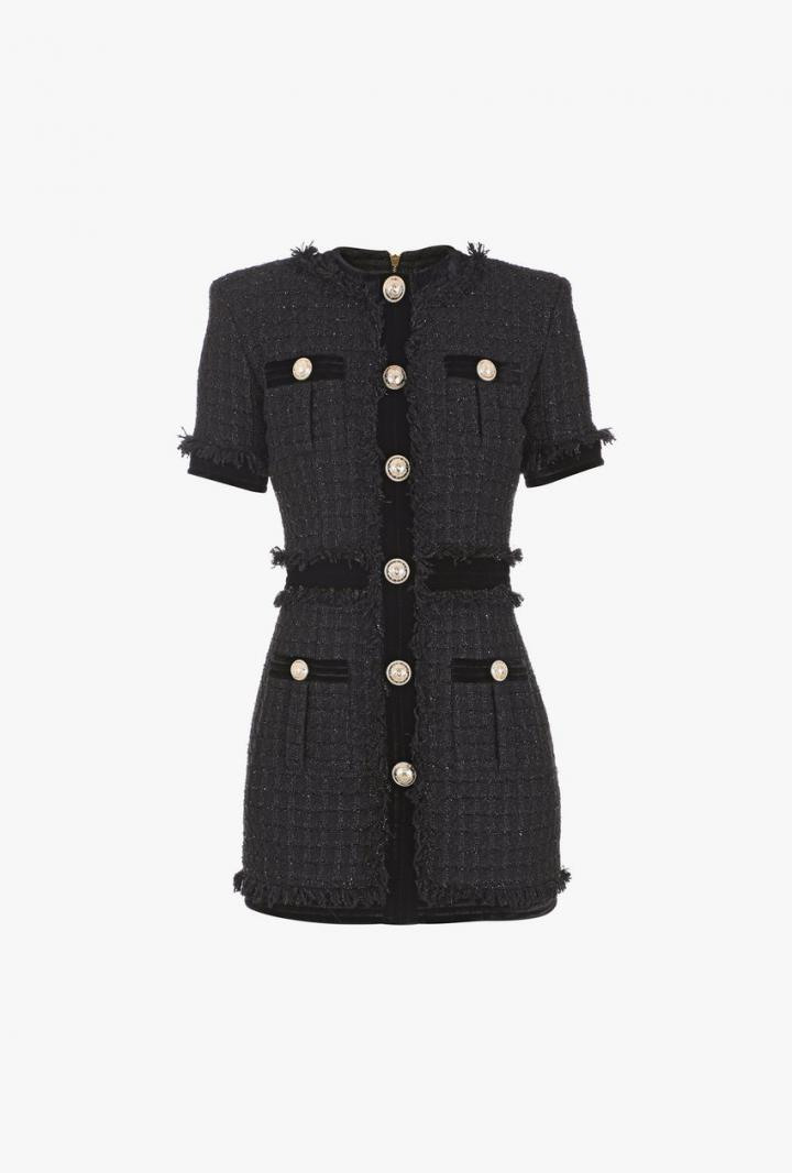 Balmain Kleider  Kurzes Kleid Aus Tweed In Irisierendem