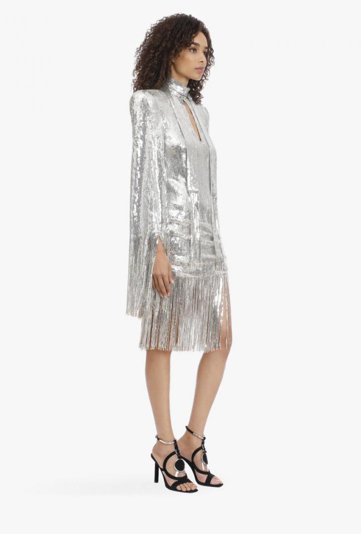 Balmain Kleider  Silberfarbenes Paillettenkleid Und