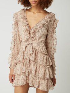 Bardot Kleid Aus Chiffon Mit Floralem Muster In Rosé