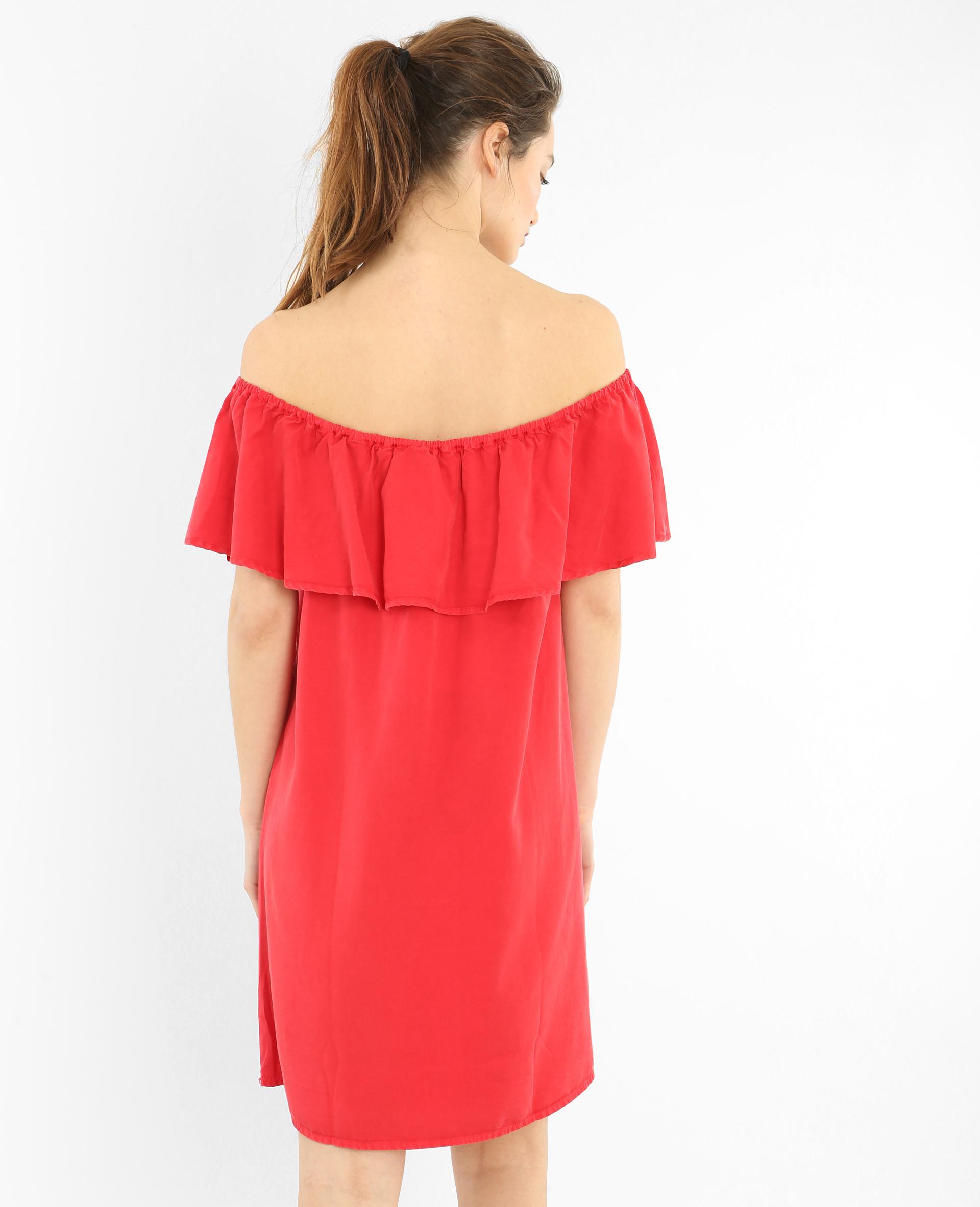 Bardotrüschenkleid Rot  780579342A03  Pimkie
