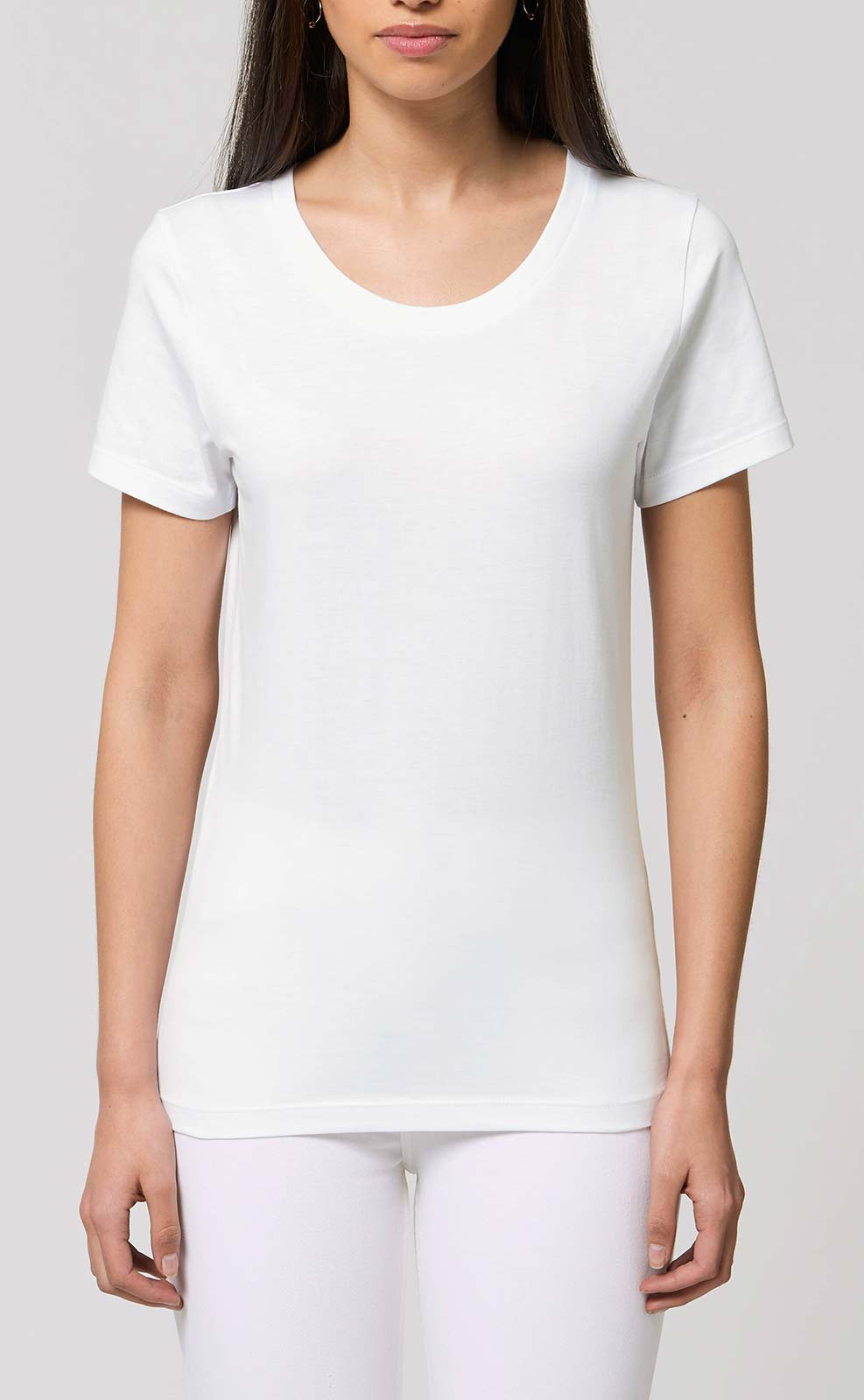 Basic Damen Tshirt In Weiß  100 Biobaumwolle